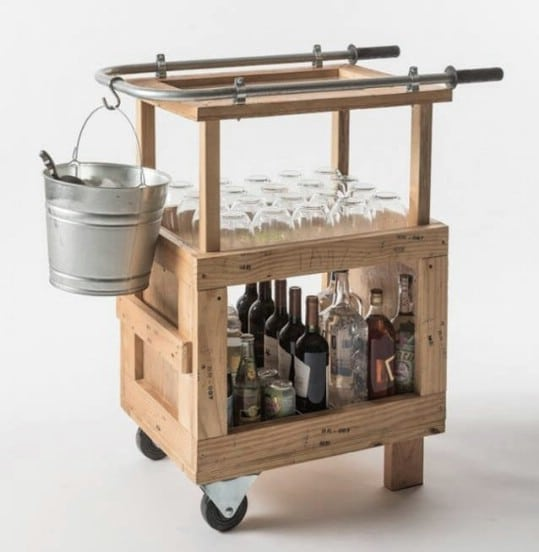 Repurposed Pallet Bar Cart
