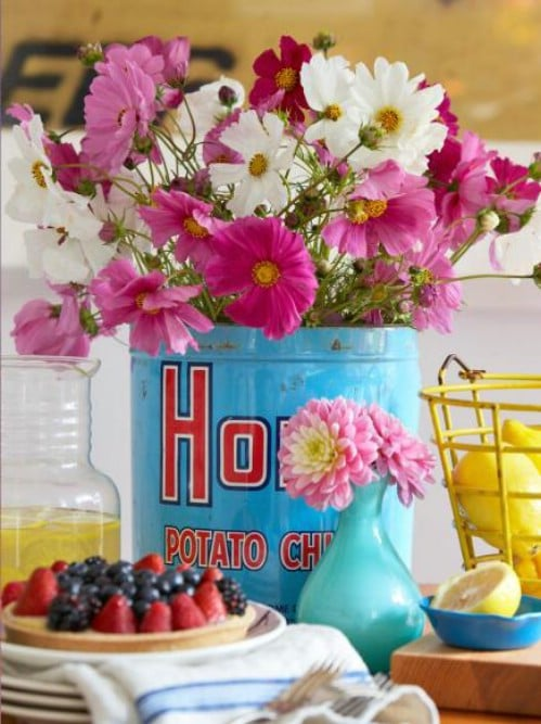 Upcycled Metal Tin Vase