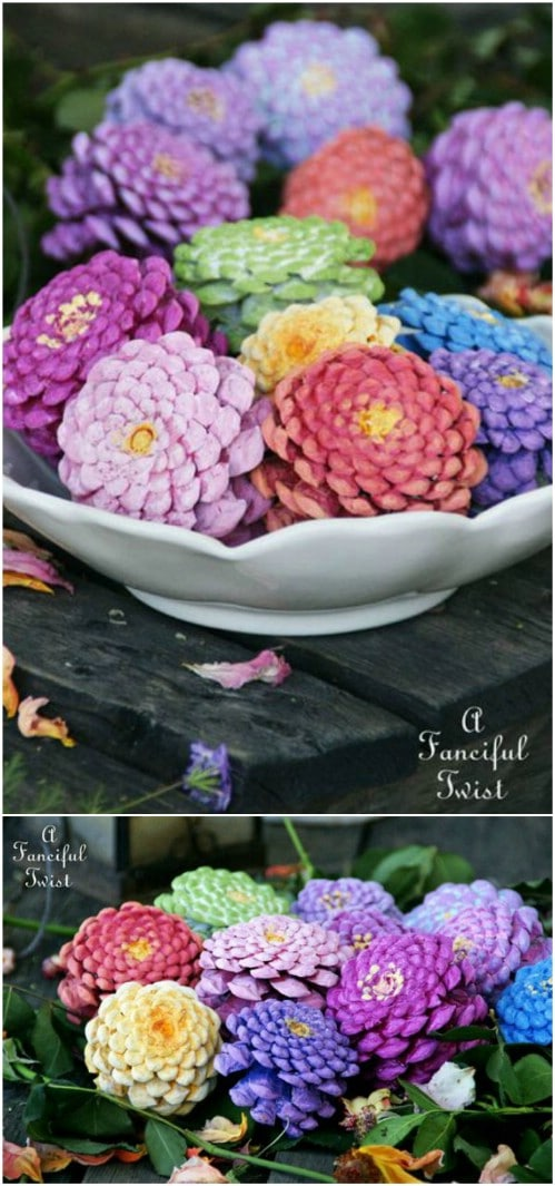 Painted Zinnia Pinecones