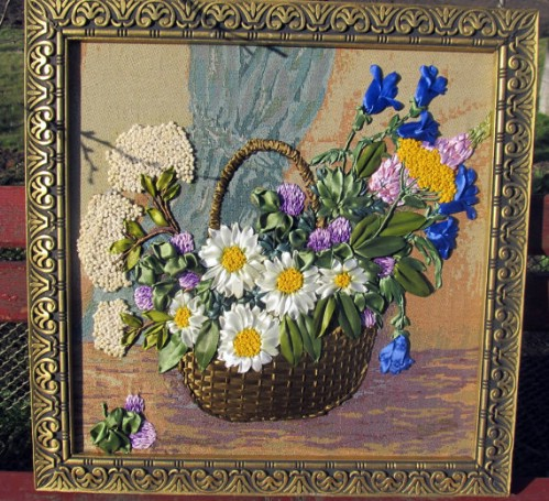 Embroidered Summer Flower Tapestry