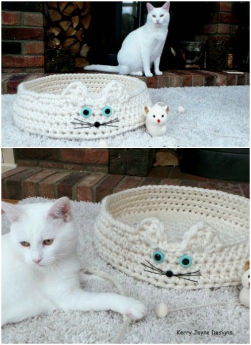 32 Crochet Cat Bed Patterns - Crochet News | 687x499