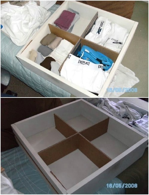 Repurposed Cardboard Drawer Dividers