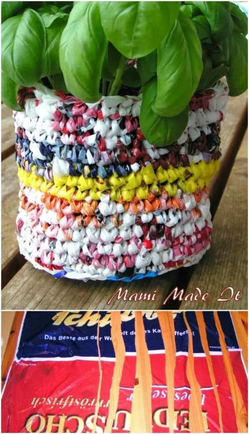 Gorgeous Plastic Bag Flowerpot