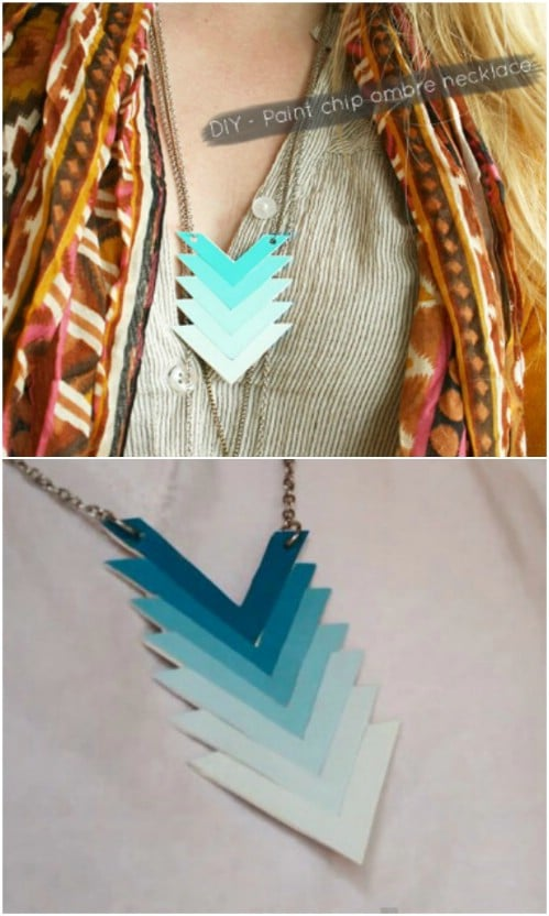 Easy Ombre Paint Chip Necklace