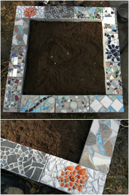 DIY Mosaic Cinder Block Raised Garden Bed