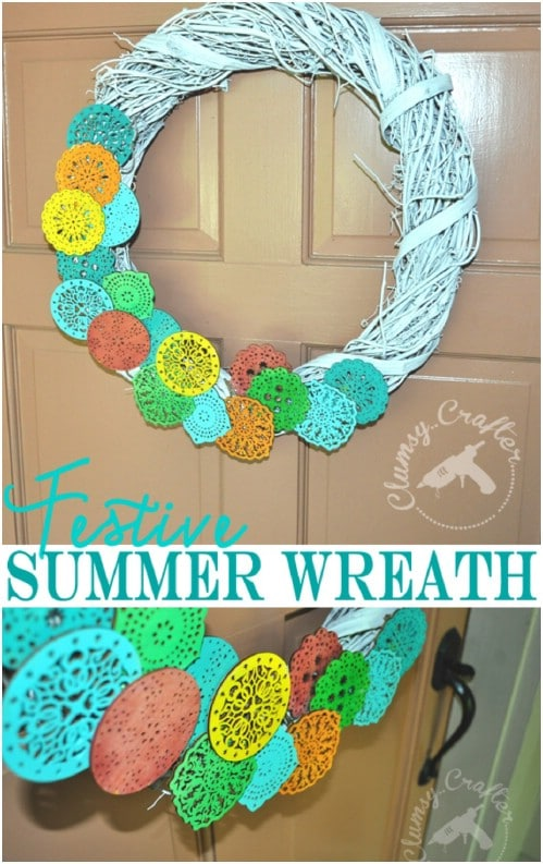 Festive Paper Flower Summer Wreath