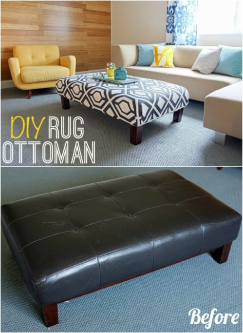DIY Upcycled Rug Ottoman