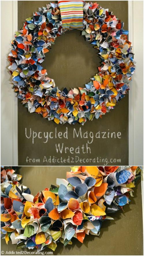 Lovely Upcycled Magazine Wreath