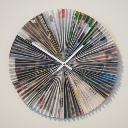 Recycled Magazine Accordion Style Clock