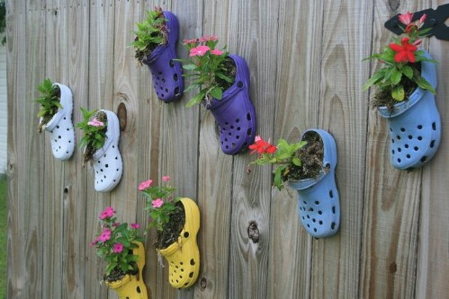 Repurposed Croc Planters