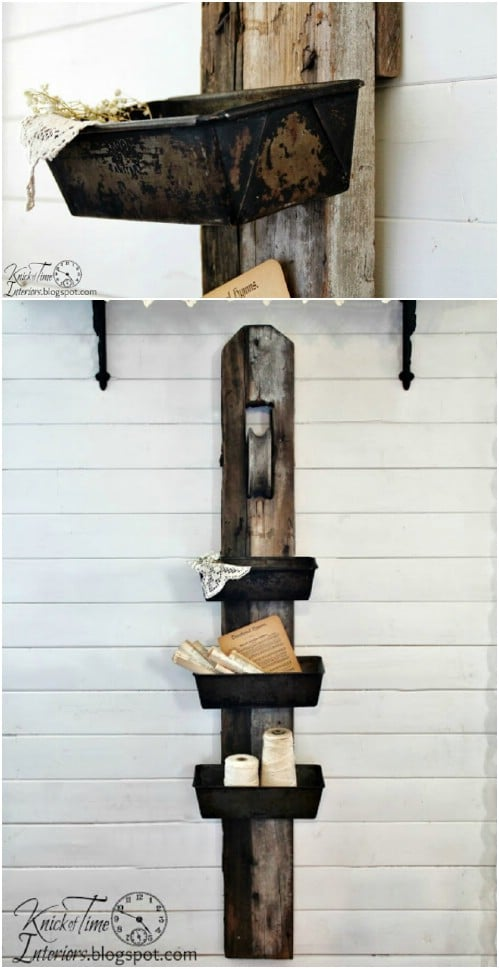 Repurposed Barn Pulley Hanging Bin