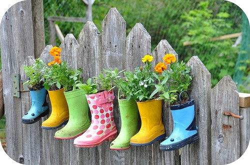 Upcycled Rain Boot Flower Pots