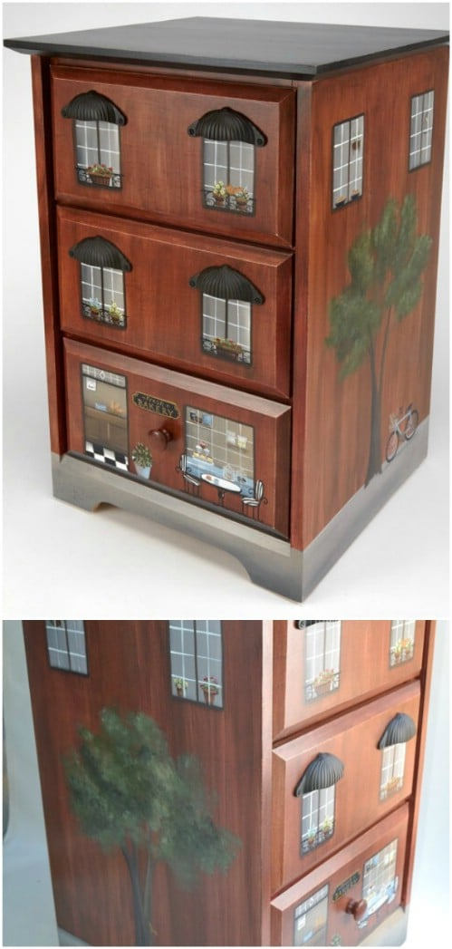 Paint an end table to look like a townhouse or other building.