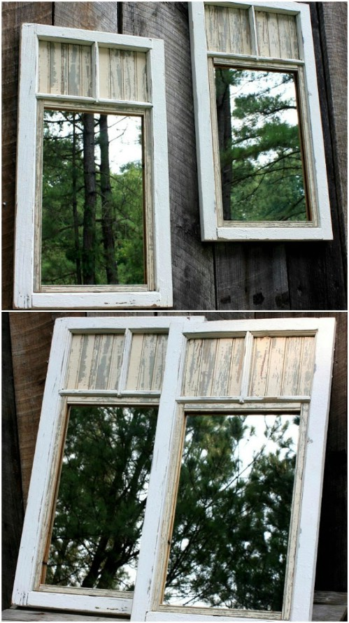 Repurposed Mirror Fence Décor