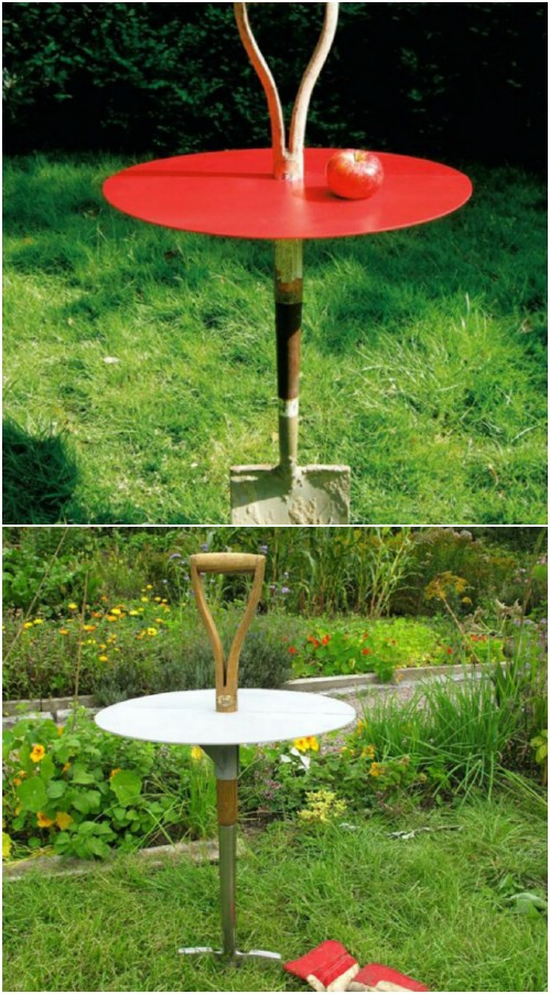Rustic Shovel Garden Table