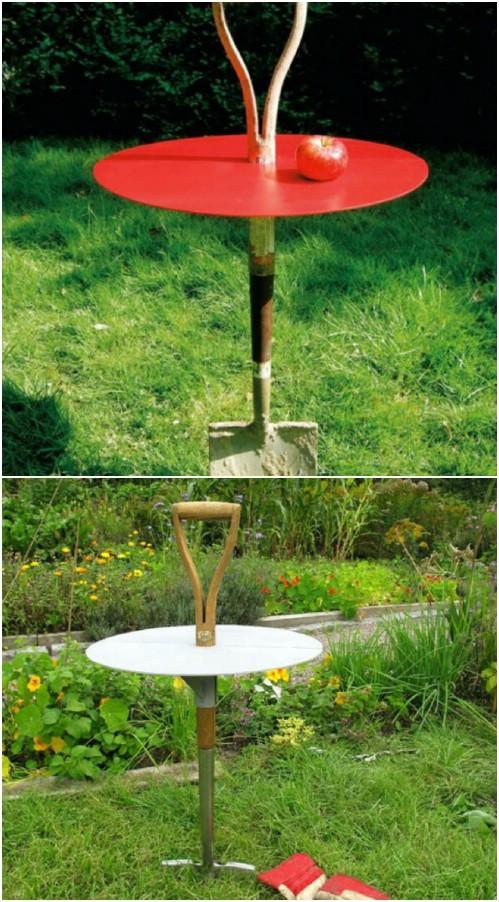 Rustic Shovel Garden Table