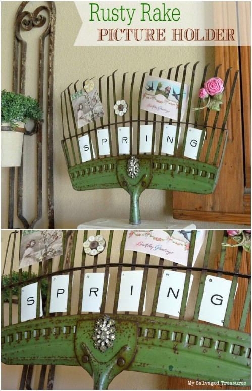 Repurposed Leaf Rake Photo Holder