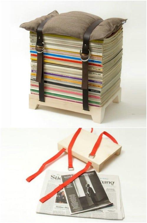 Repurposed Magazine Stack Stool