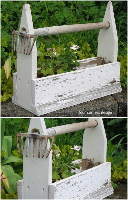 DIY Rake Handle Planter Box