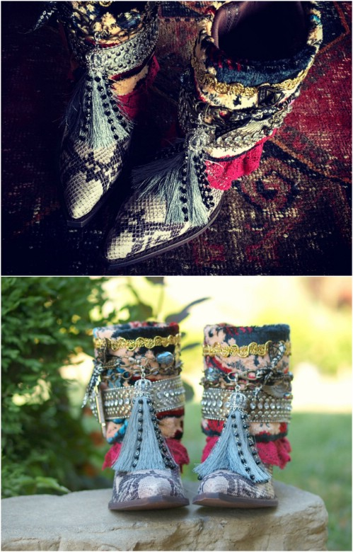 Repurposed Carpet Boots