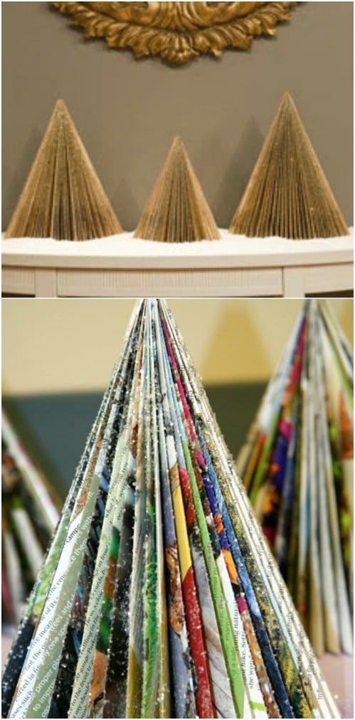 Upcycled Magazine Christmas Trees
