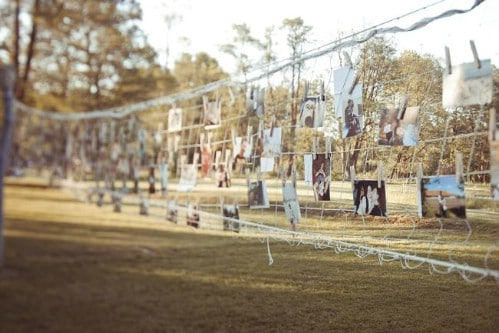 Brilliant Backyard Wedding Photo Display