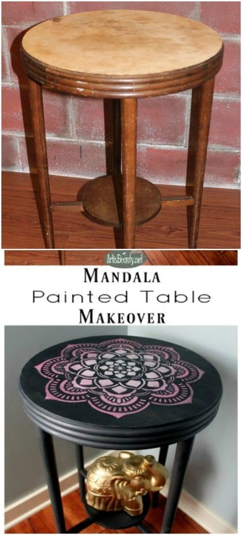 Paint a mandala on a table.