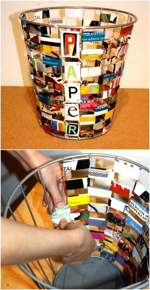 Upcycled Magazine Trash Can