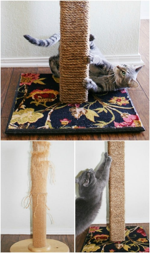 DIY Upcycled Carpet Scratching Post