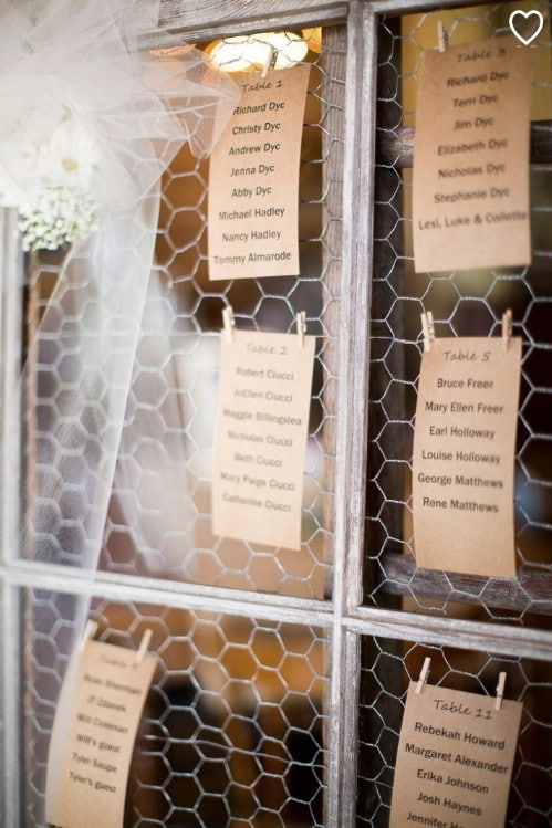 DIY Chicken Wire Seating Chart