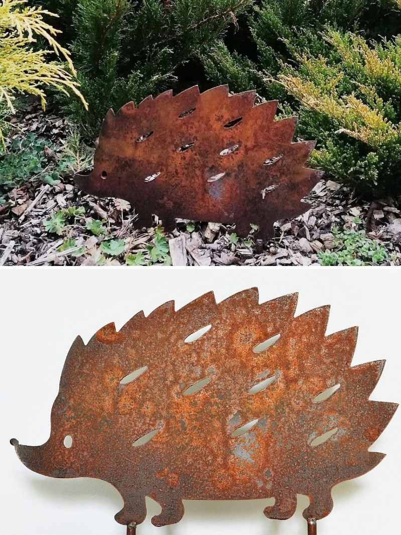 Rusty hedgehog garden decoration