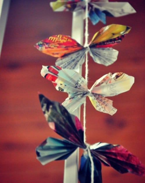 Repurposed Magazine Butterfly Chain