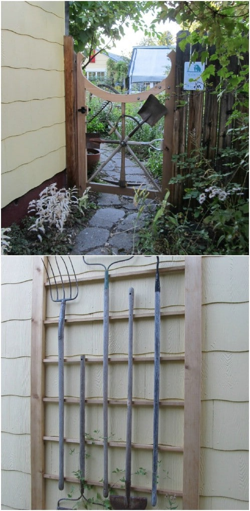DIY Repurposed Garden Tool Gate