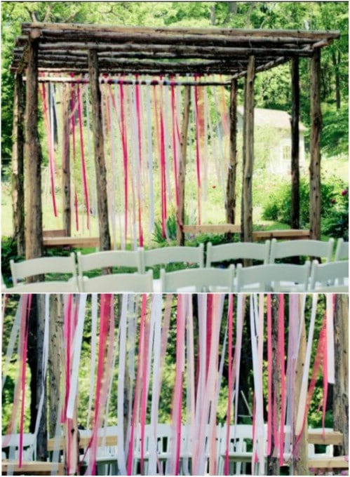 DIY Rustic Ribbon Backdrop