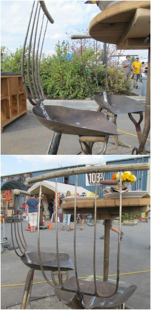 Rustic Old Garden Tool Table And Chairs