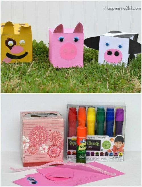 Recycled Tissue Box Farm Animals