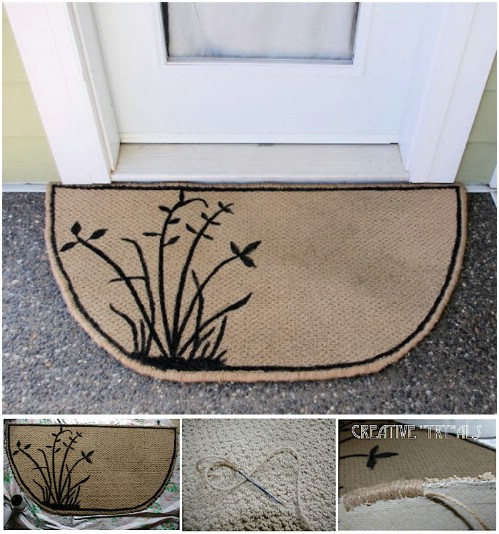 Upcycled Carpet Scrap Door Mat