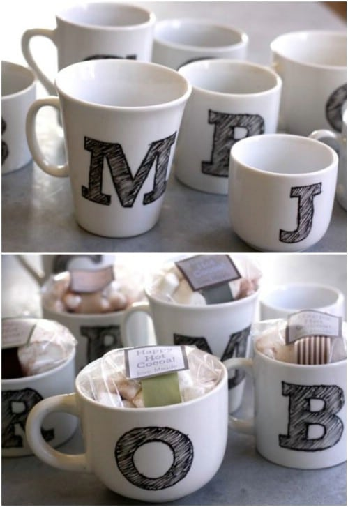 Set 2 Coffee Cups Porcelain with useful tree favours wedding