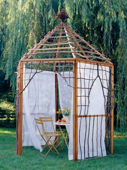 DIY Stick And Twig Pergola