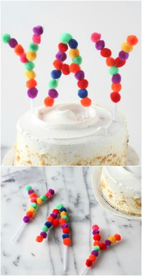 DIY Pom Pom Cake Topper