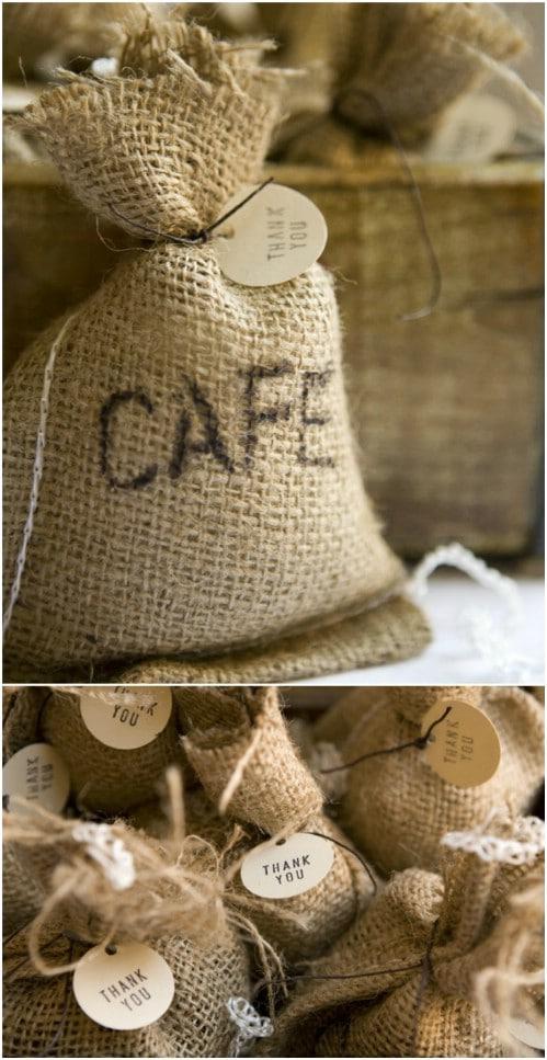DIY Burlap Coffee Or Tea Bags
