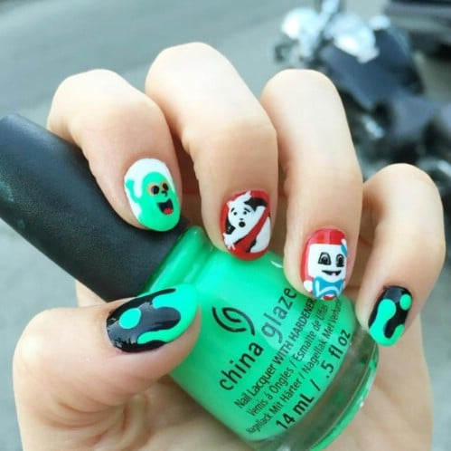 DIY Ghostbuster Nails