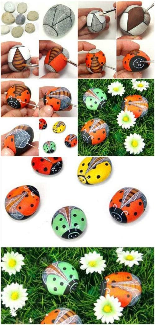 DIY Painted Pebble Ladybugs