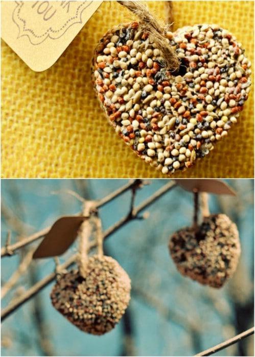 Homemade Birdseed Hearts