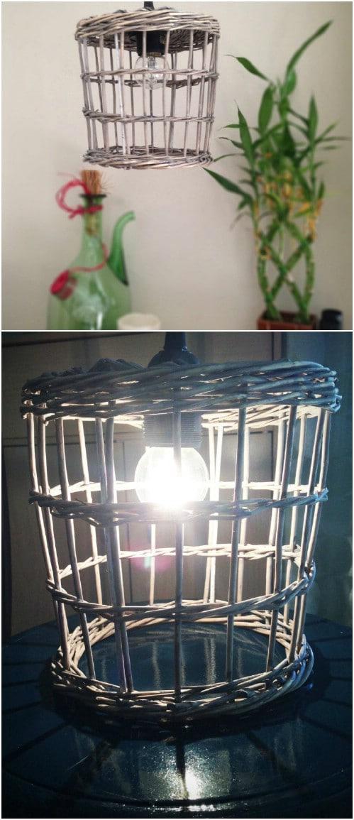 Woven Twig Basket Pendant Lamp