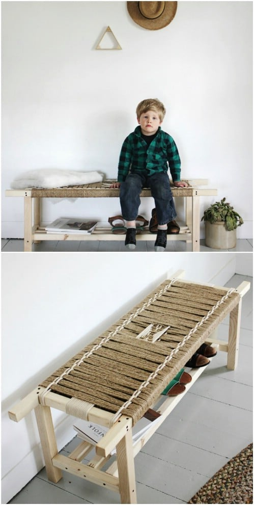 DIY Woven Twine Bench