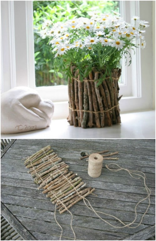 Upcycled Twig Planters