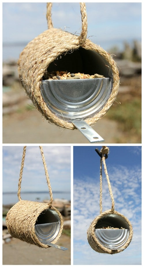 Upcycled Can And Twine Birdfeeder