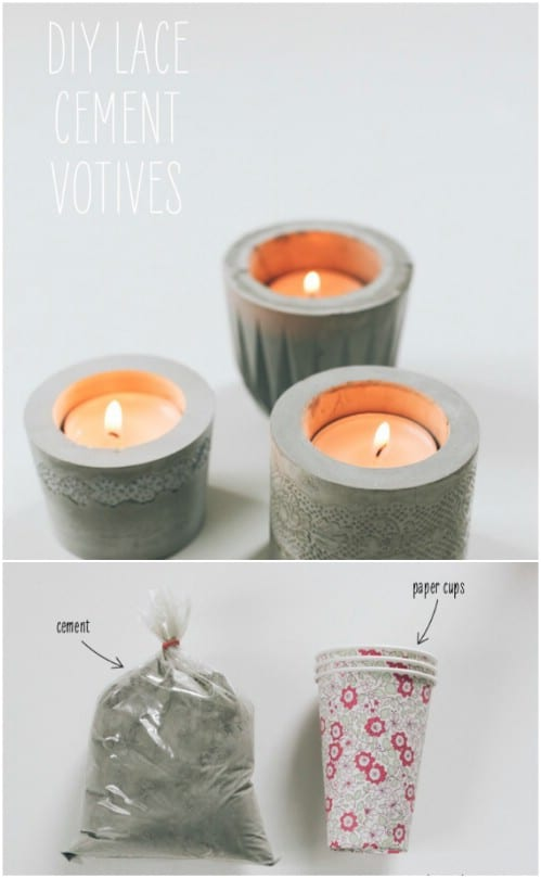 Concrete And Lace Votive Holders