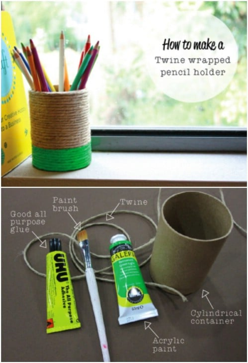 Twine Wrapped Pencil Holder